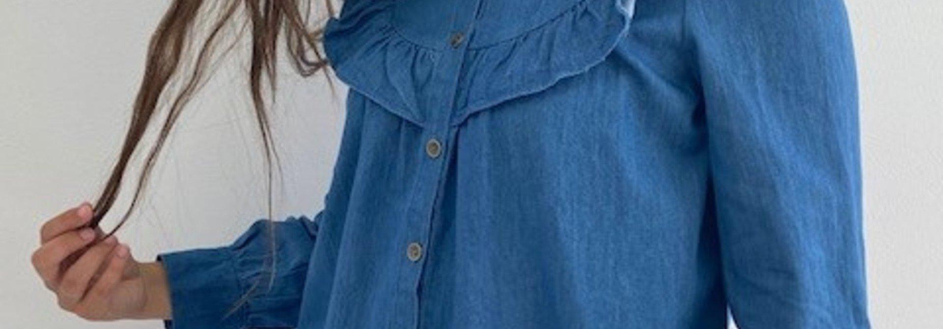 Catline ruches blouse Denim