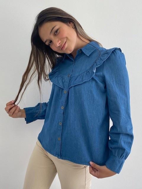 Catline ruches blouse Denim-1