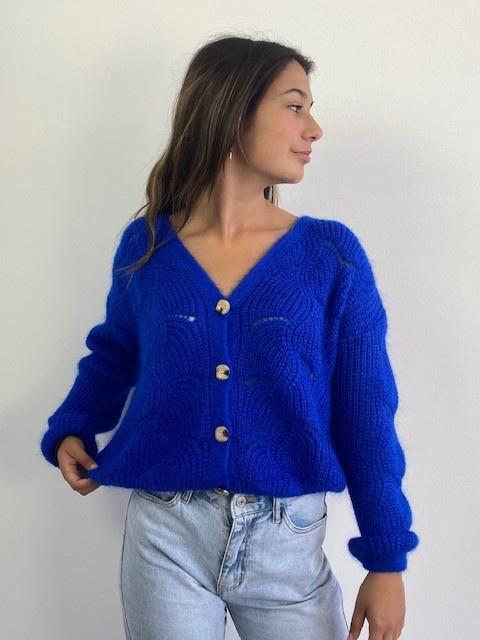 Marlena ajour cardigan Cobalt Blue-3