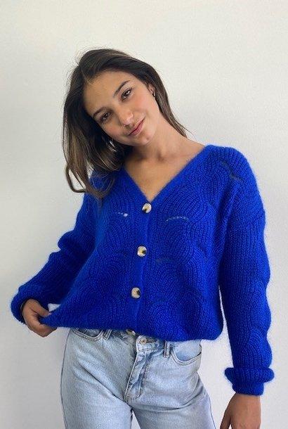 Marlena ajour cardigan Cobalt Blue