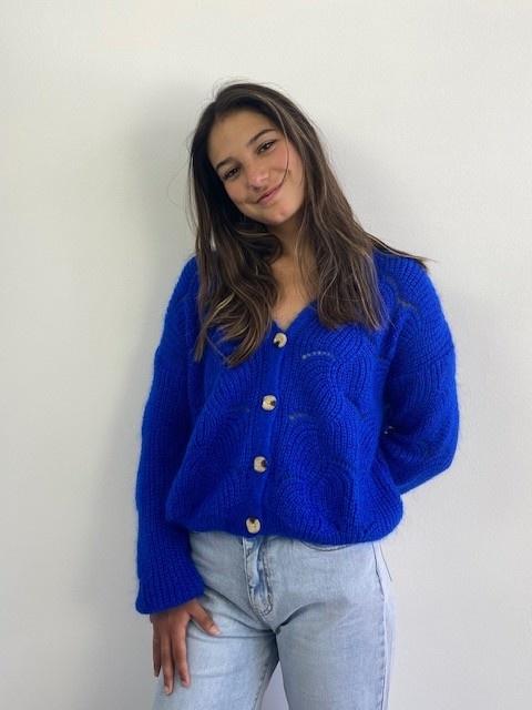 Marlena ajour cardigan Cobalt Blue-4