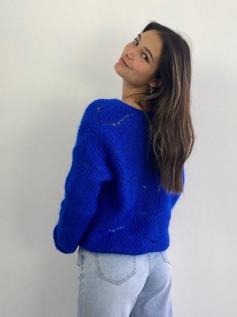 Marlena ajour cardigan Cobalt Blue-2
