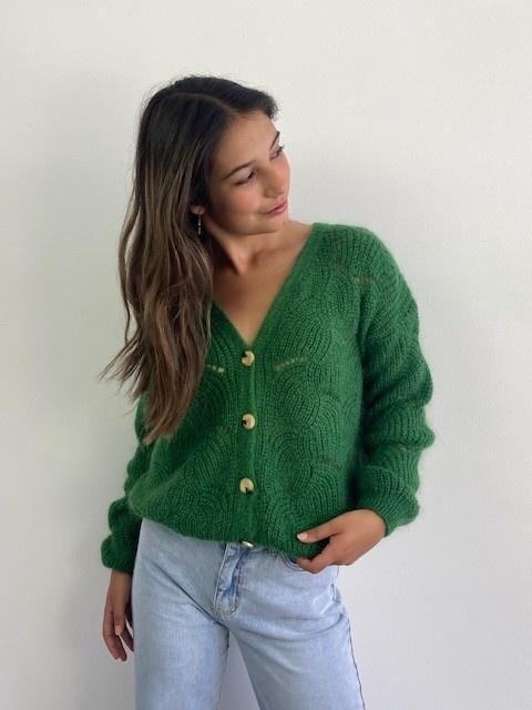 Marlena ajour cardigan Pine Green-1