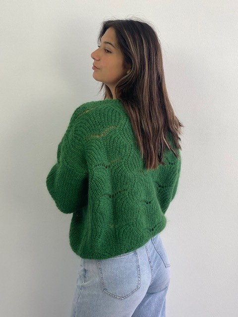 Marlena ajour cardigan Pine Green-3