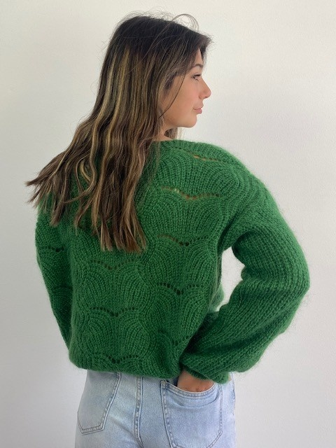 Marlena ajour cardigan Pine Green-2