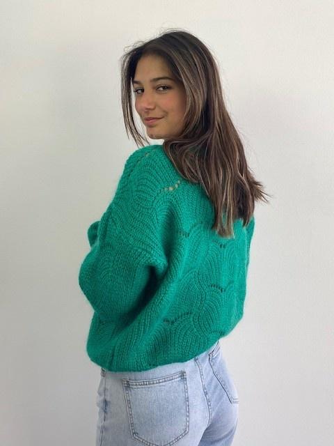 Marlena ajour cardigan Bright Green-2