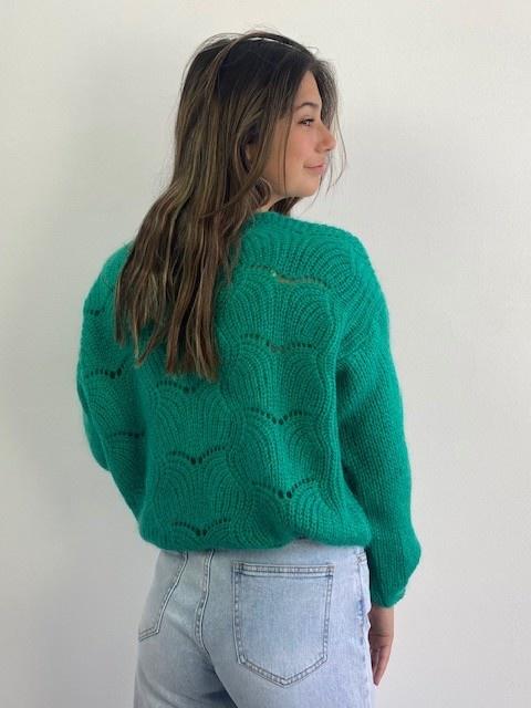 Marlena ajour cardigan Bright Green-3