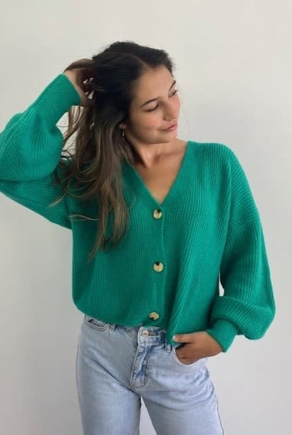 Caroline ballonsleeve cardigan Bright Green