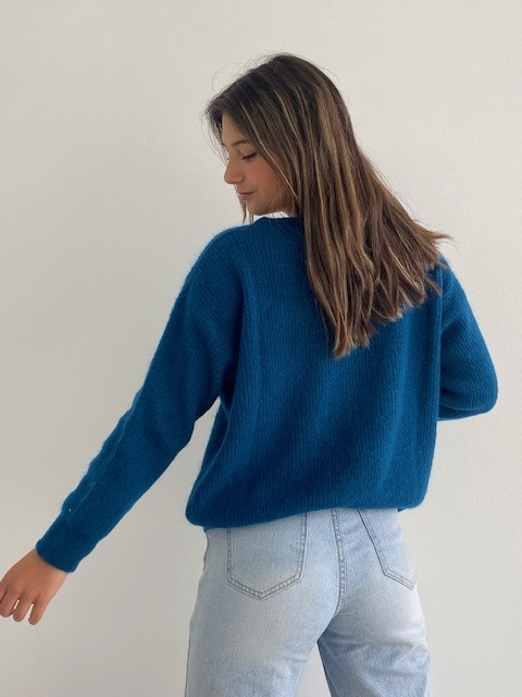 Louna v-neck knitted pull Petrol-3