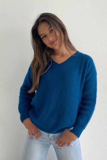 Louna v-neck knitted pull Petrol