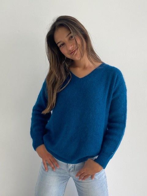 Louna v-neck knitted pull Petrol-1