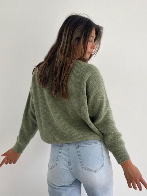 Louna v-neck knitted pull Khaki Melée-3