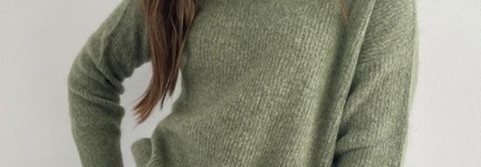 Louna v-neck knitted pull Khaki Melée