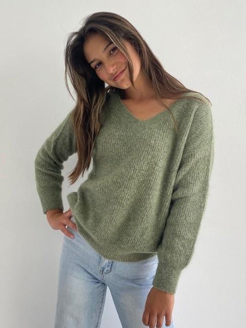 Louna v-neck knitted pull Khaki Melée-1