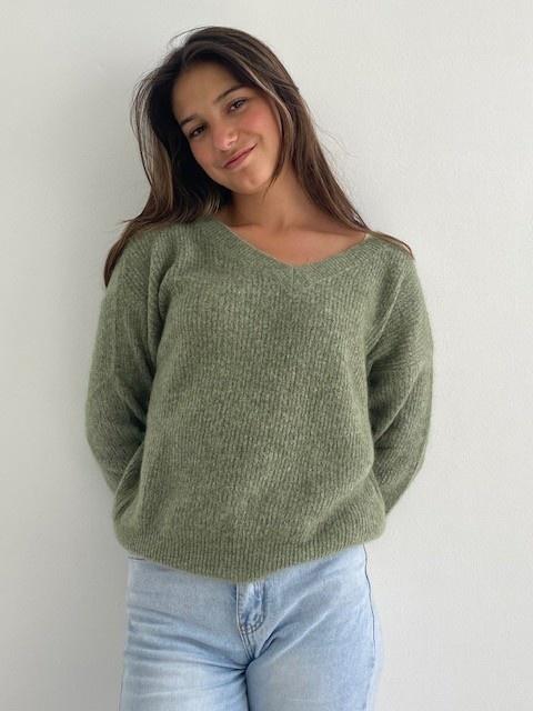 Louna v-neck knitted pull Khaki Melée-4