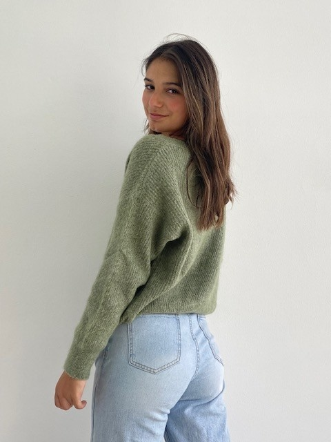 Louna v-neck knitted pull Khaki Melée-2