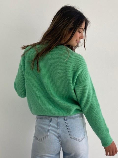 Louna v-neck knitted pull Fresh Green-3