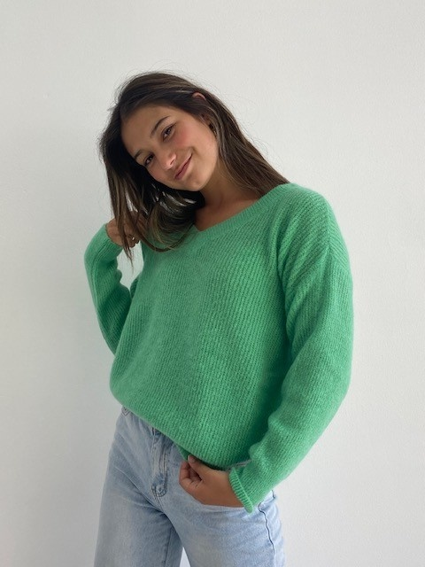 Louna v-neck knitted pull Fresh Green-4