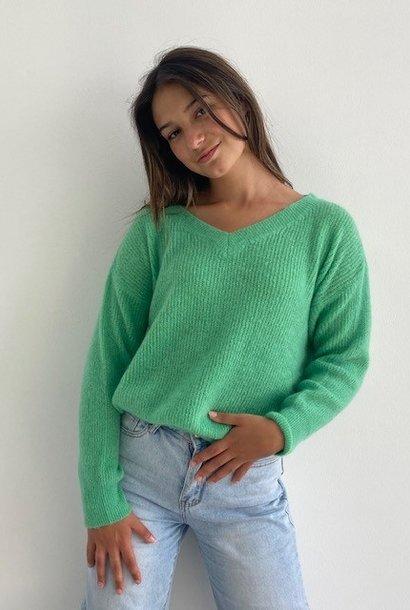 Louna v-neck knitted pull Fresh Green