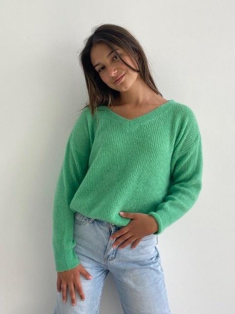 Louna v-neck knitted pull Fresh Green-1