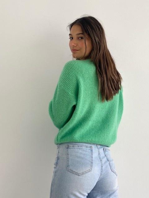 Louna v-neck knitted pull Fresh Green-2