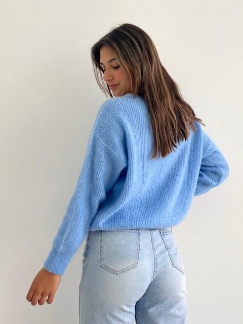 Louna v-neck knitted pull Sky Blue-6
