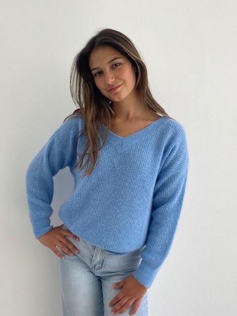 Louna v-neck knitted pull Sky Blue-7
