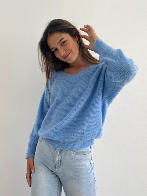 Louna v-neck knitted pull Sky Blue-5