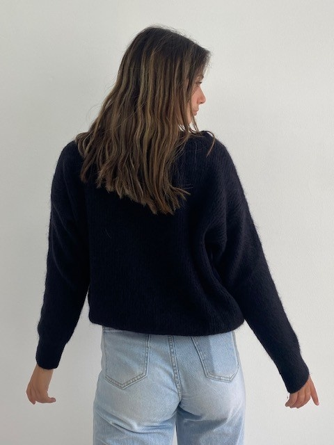 Louna v-neck knitted pull Black-3