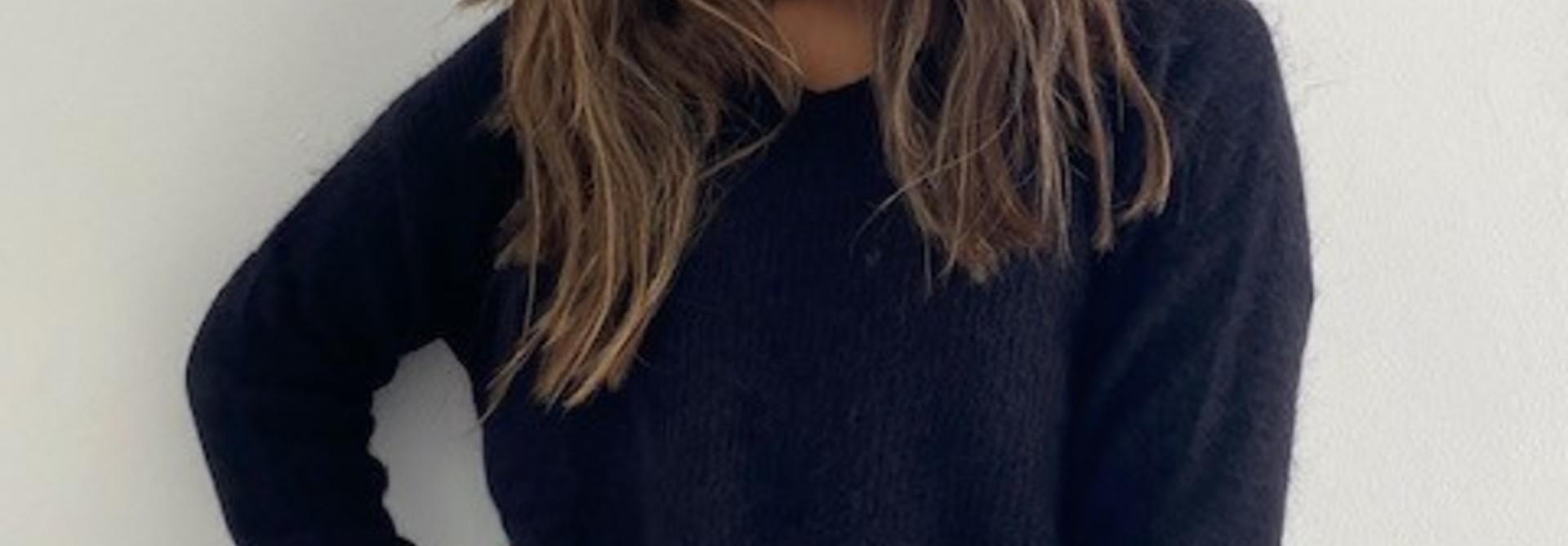 Louna v-neck knitted pull Black