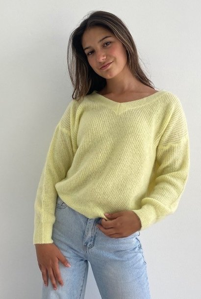 Louna v-neck knitted pull Soft Yellow