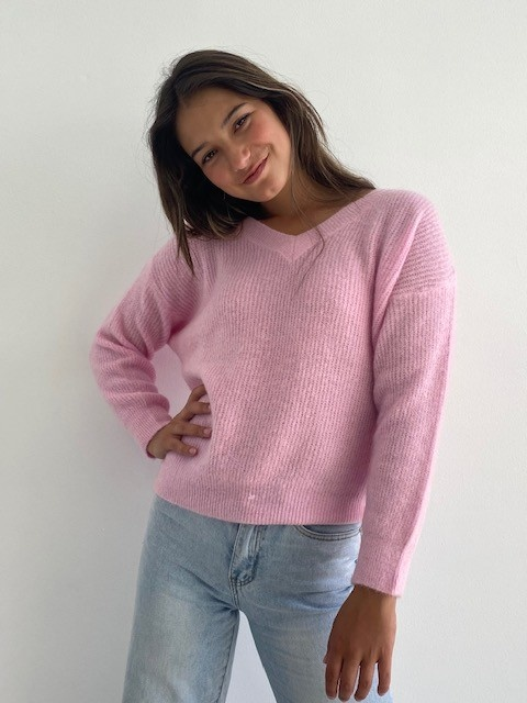 Louna v-neck knitted pull Mellow Pink-3
