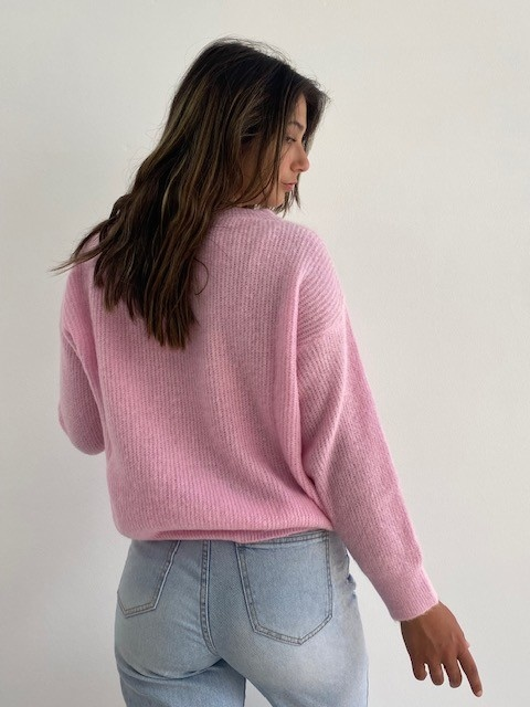 Louna v-neck knitted pull Mellow Pink-2