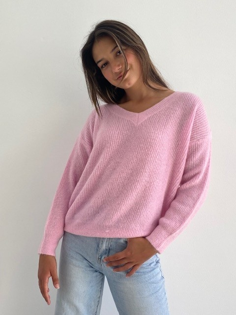 Louna v-neck knitted pull Mellow Pink-1