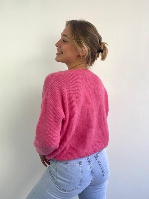 Louna v-neck knitted pull Bright Blush-3
