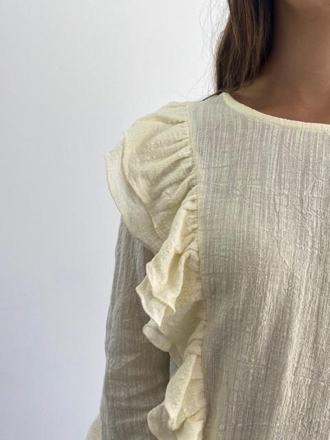 Laurentine ruches blouse Almond-3