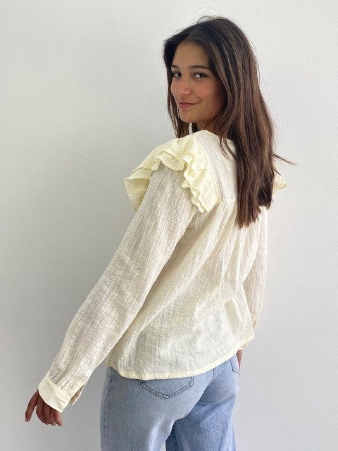 Laurentine ruches blouse Almond-2
