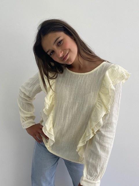 Laurentine ruches blouse Almond-1