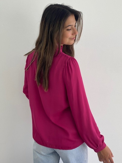 Sarhia bavet blouse Fushia-4