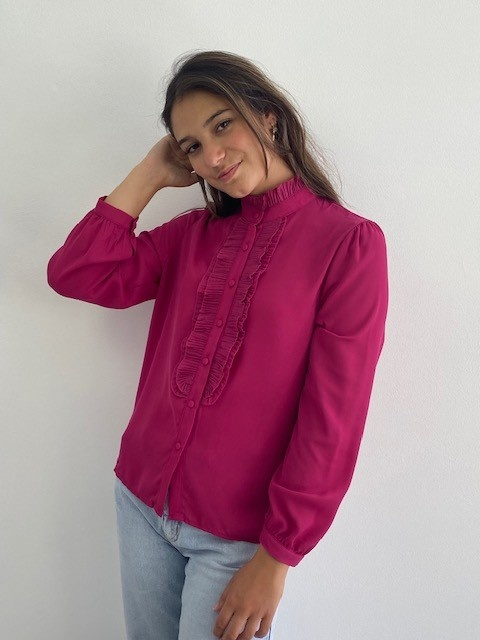 Sarhia bavet blouse Fushia-1