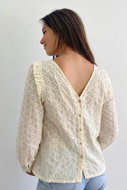 Verona broderie l/s blouse Almond
