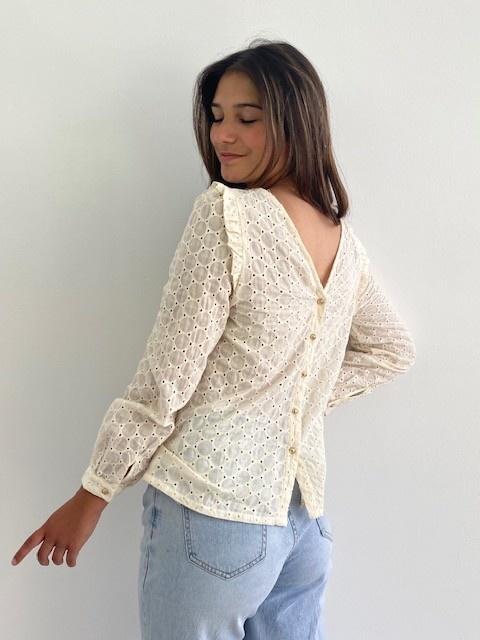 Verona broderie l/s blouse Almond-3
