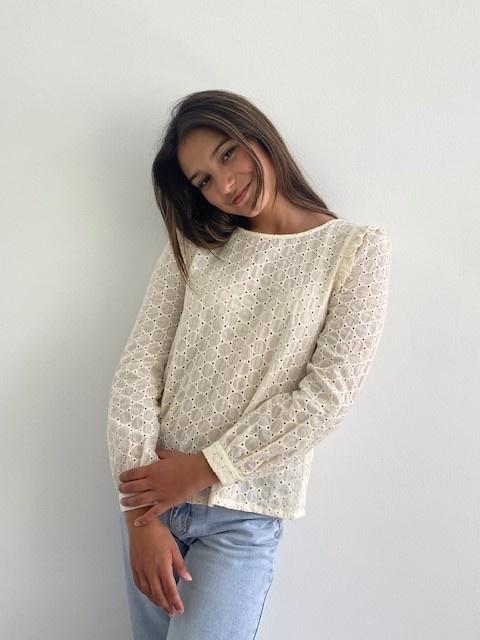 Verona broderie l/s blouse Almond-4