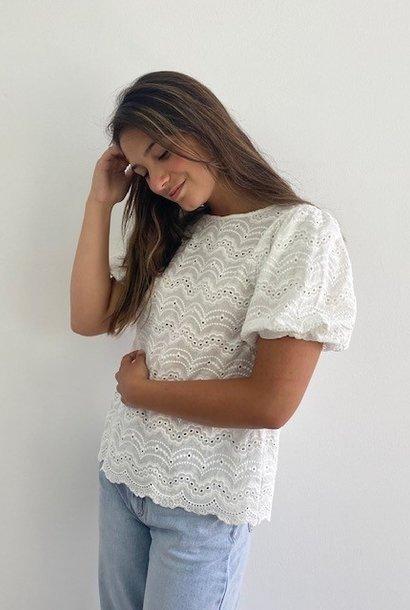 Renata s/s broderie ballonsleeve blouse White