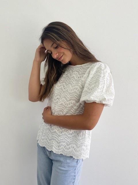 Renata s/s broderie ballonsleeve blouse White-1