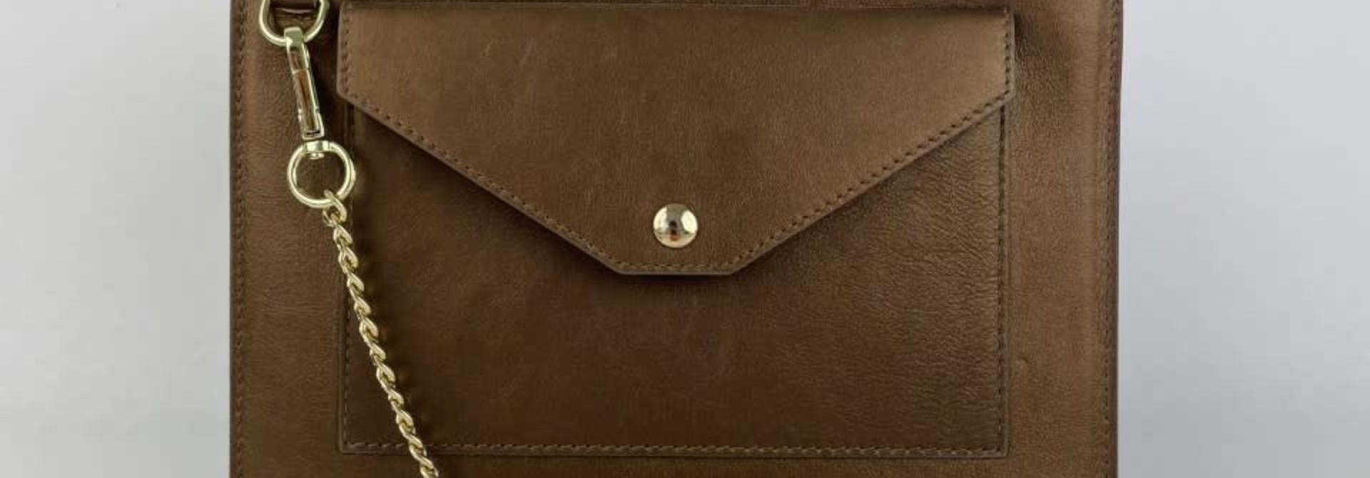 Franca calf leather poche Metalic Bronze