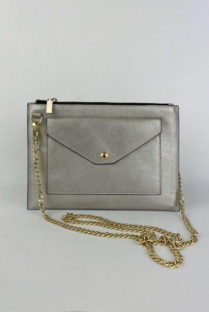 Franca calf leather  poche Metalic Silver