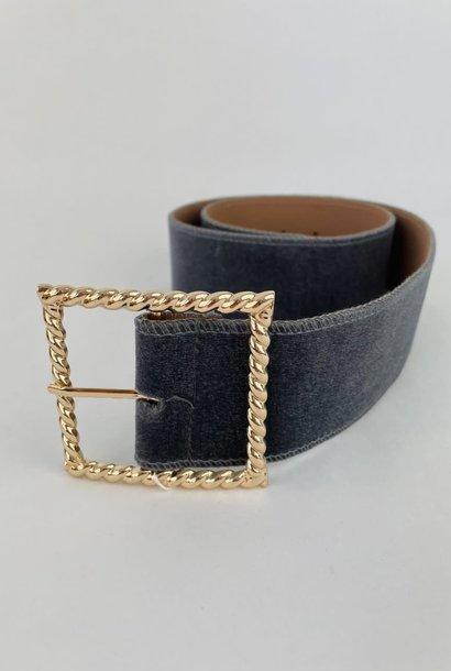 Ebony velvet statement belt Grey