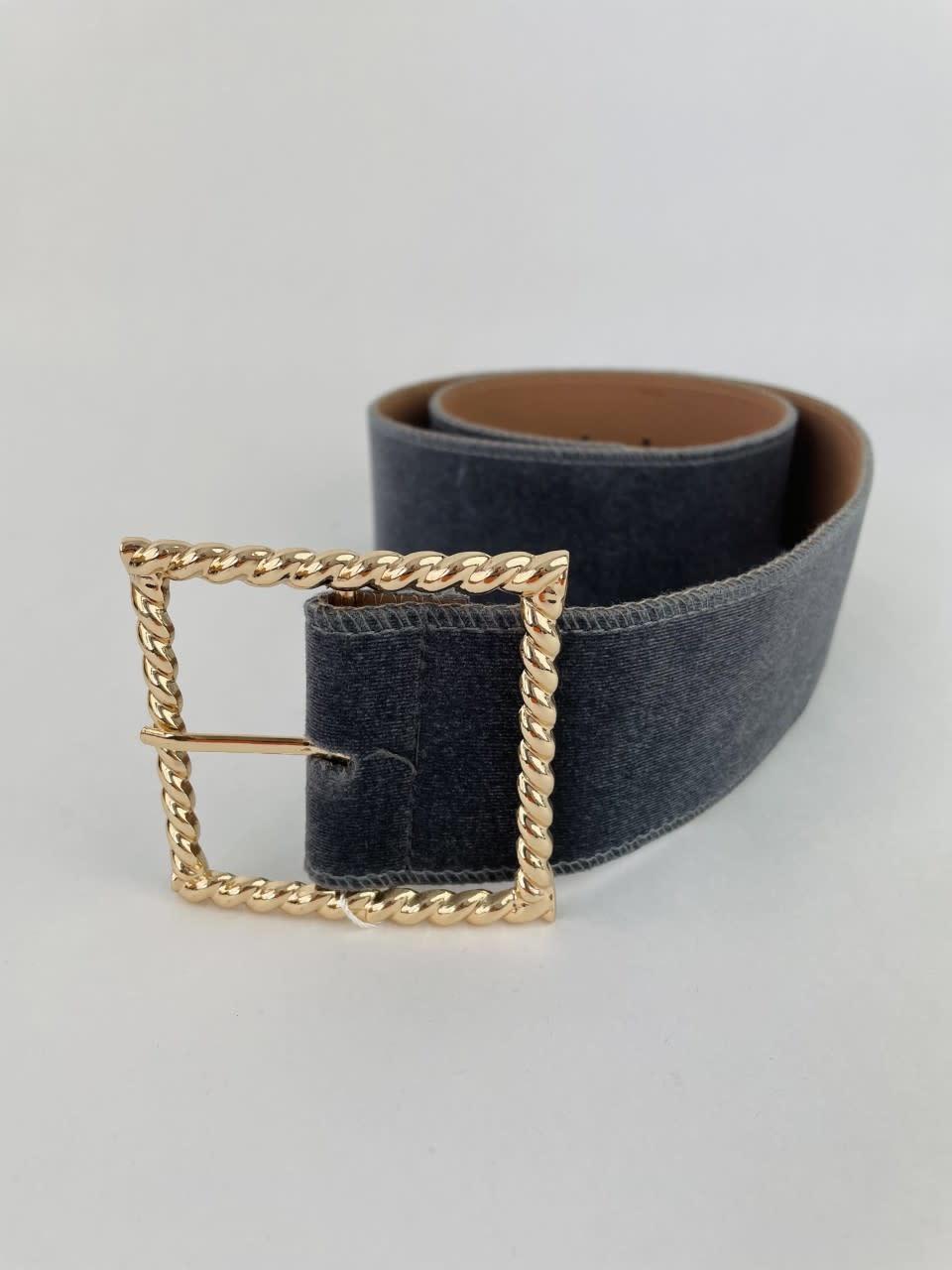 Ebony velvet statement belt Grey-1