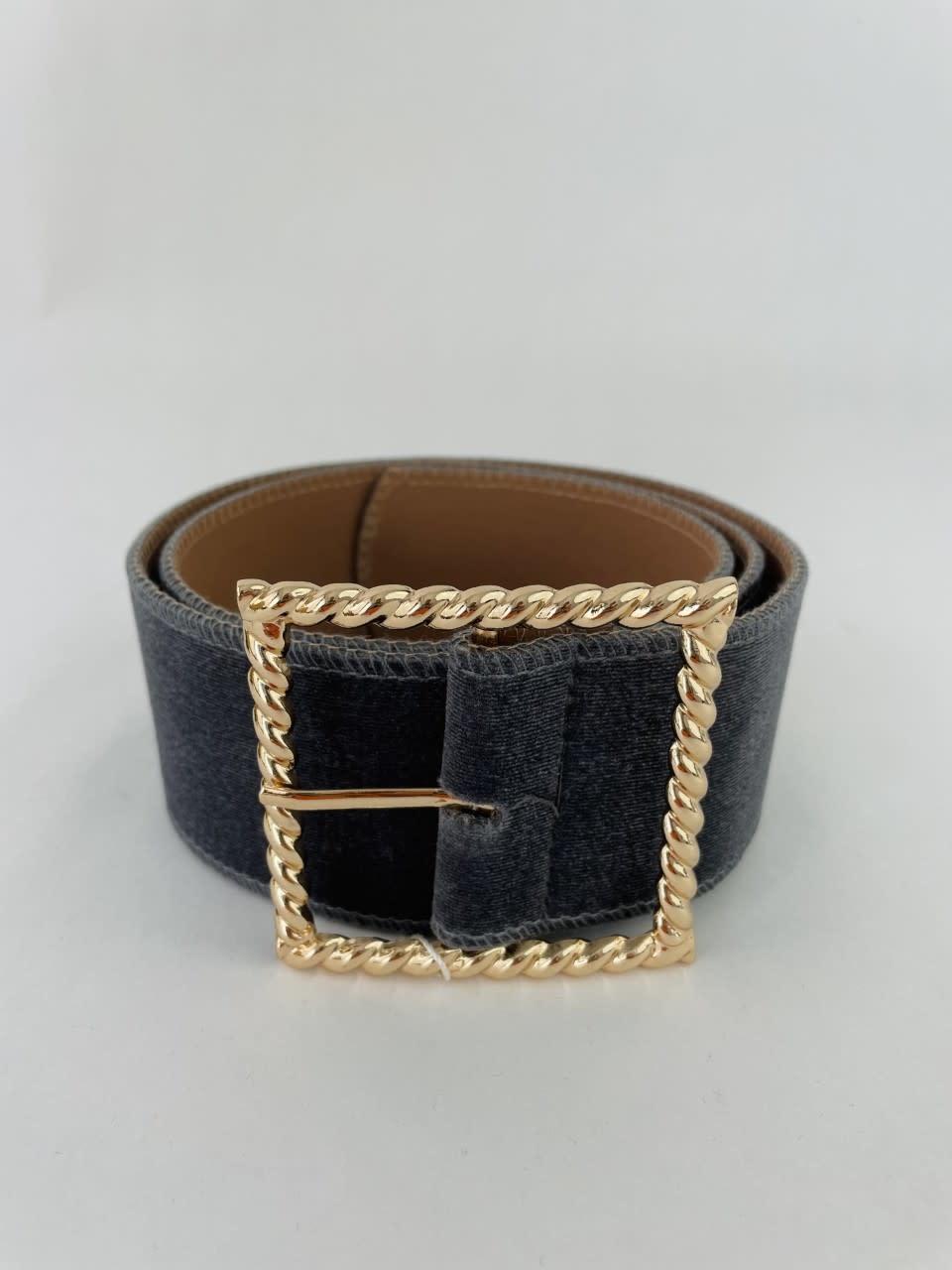 Ebony velvet statement belt Grey-2